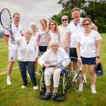 Image of members of Denstone Tennis Club with residents Betty and Jenifer